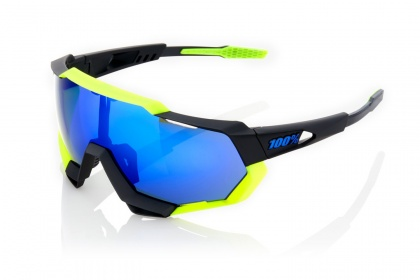 Очки 100% Speedtrap / Soft Tact Black Neon Yellow Electric Blue Mirror